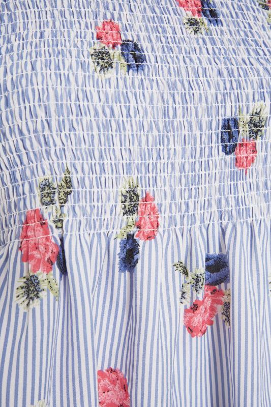 Blue Stripe Floral Shirred Top_s.jpg