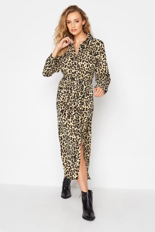 Tall  LTS Cream Animal Print Shirt Midi Dress