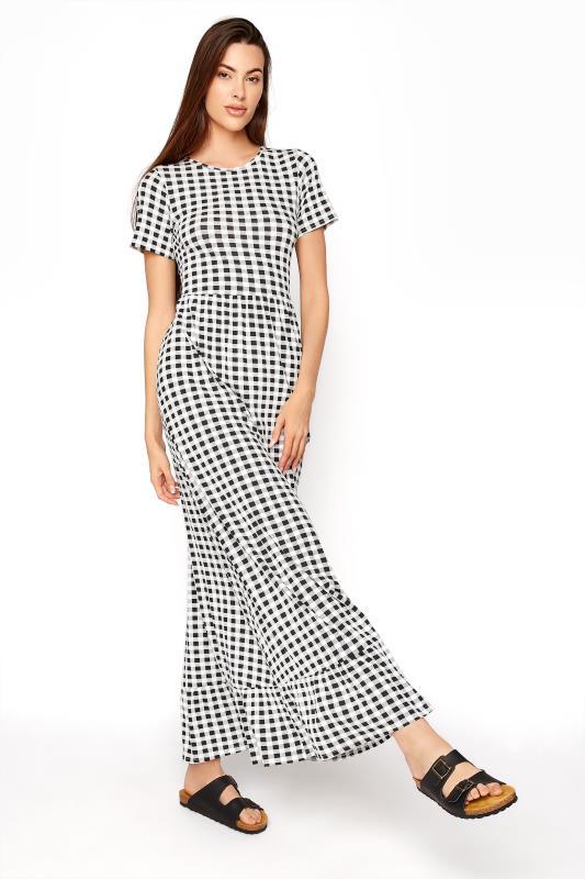 Tall  LTS Black Gingham Tiered Maxi Dress