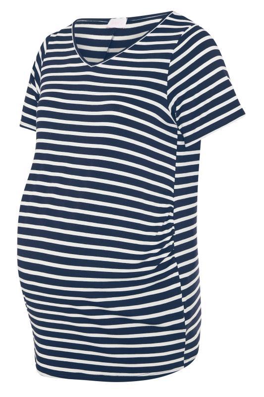 BUMP IT UP MATERNITY Navy Stripe Short Sleeve T-Shirt_F.jpg