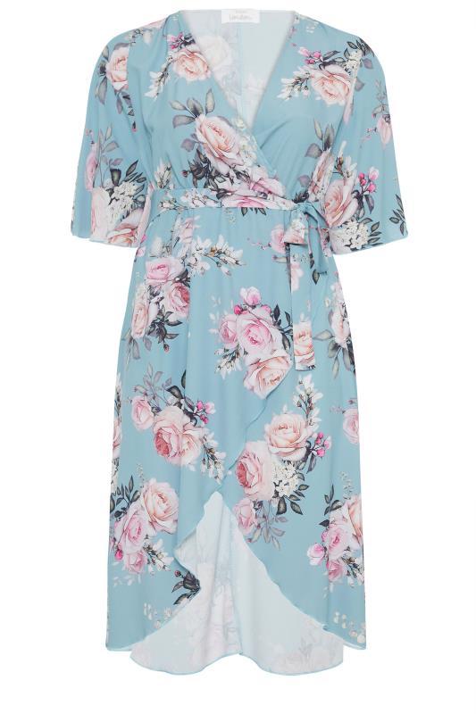 YOURS LONDON Blue Floral Wrap Midi Dress_F.jpg