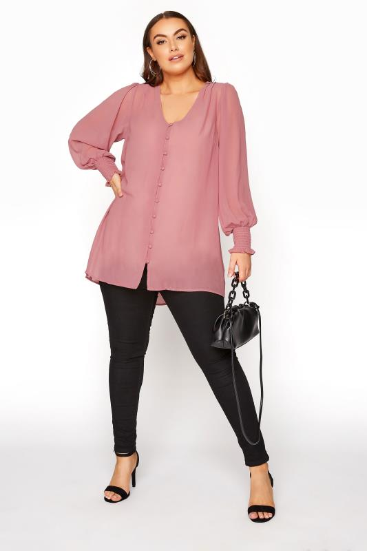 YOURS LONDON Pink Balloon Sleeve Shirt_B.jpg