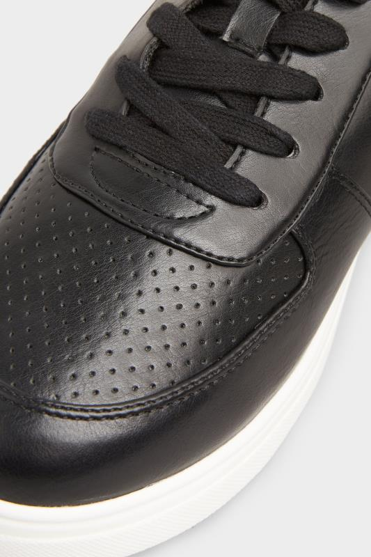 Black Vegan Leather Lace Up Trainers In Extra Wide Fit_D.jpg