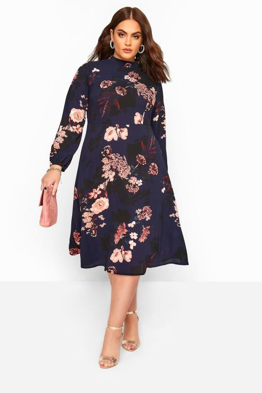 Plus Size Midi Dresses YOURS LONDON Navy Floral Turtleneck Skater Midi Dress