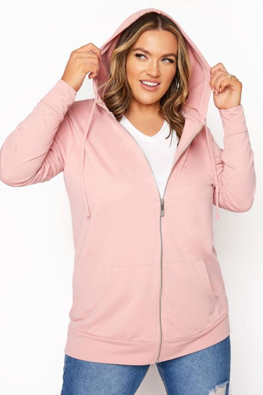 Plus Size  Pink Zip Through Hoodie