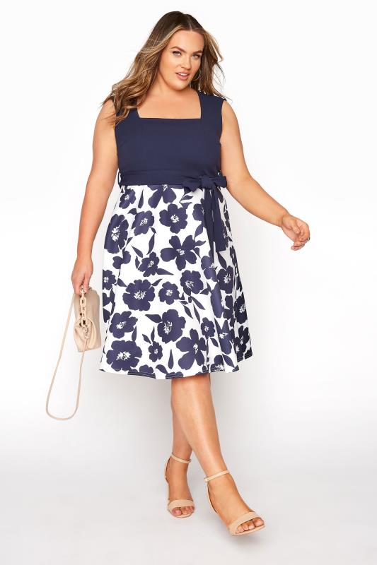 YOURS LONDON Navy Floral Square Neck Dress_B.jpg