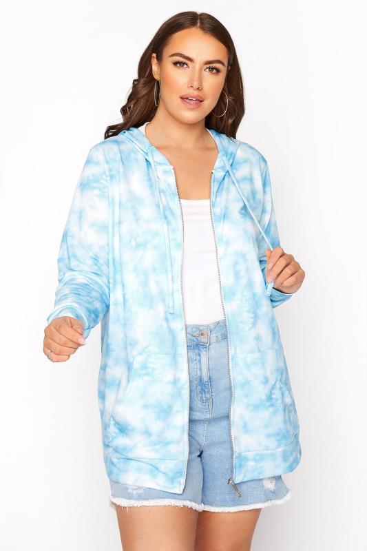 Plus Size  Blue Tie Dye Zip Hoodie
