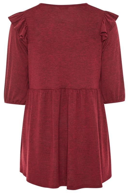 Burgundy Marl Frill Knitted Peplum Top