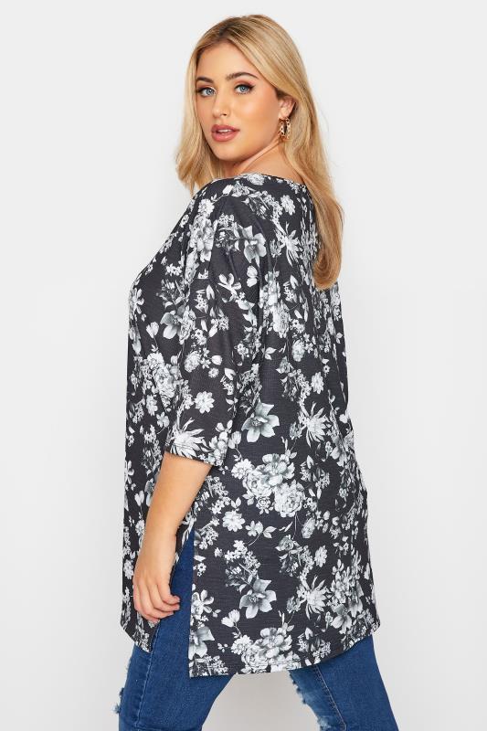 Black Floral Print Side Split Tunic_C.jpg