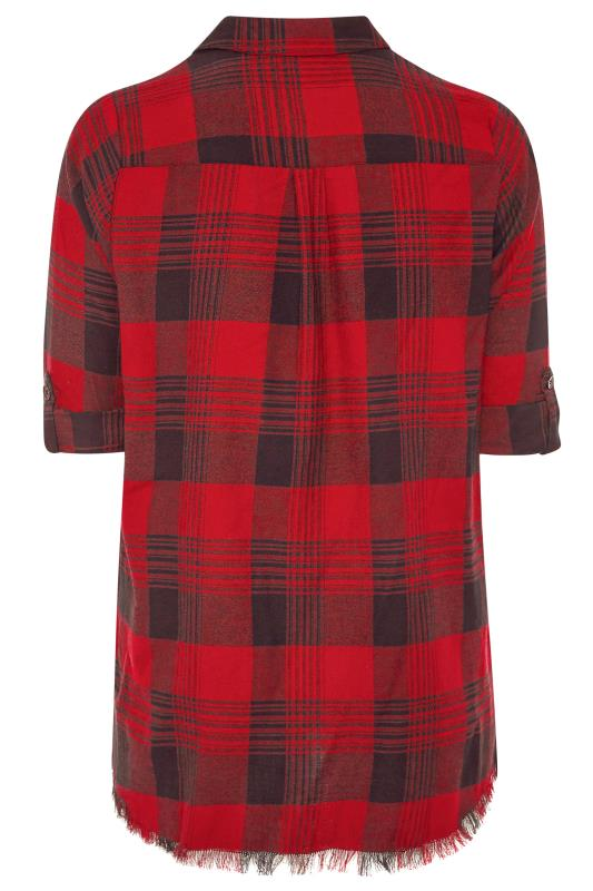Red & Black Check Frayed Hem Shirt