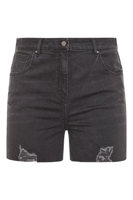 Black Cut Off Distressed Denim Shorts_F.jpg