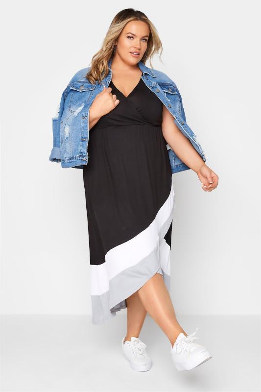 Black Colour Block Plunge Wrap Midaxi Dress_B.jpg