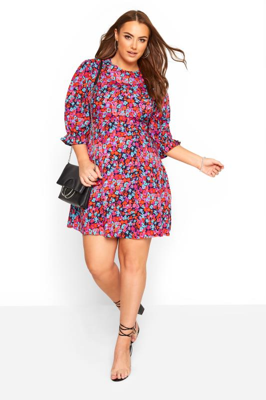 Casual / Every Day WEDNESDAY'S GIRL Pink Floral Frill Sleeve Dress