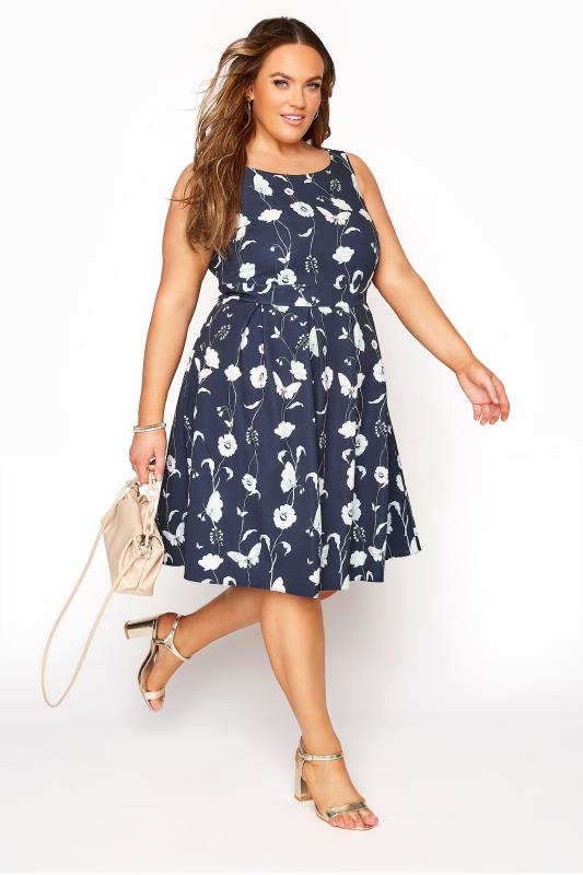 Plus Size  Navy Sleeveless Floral Skater Dress