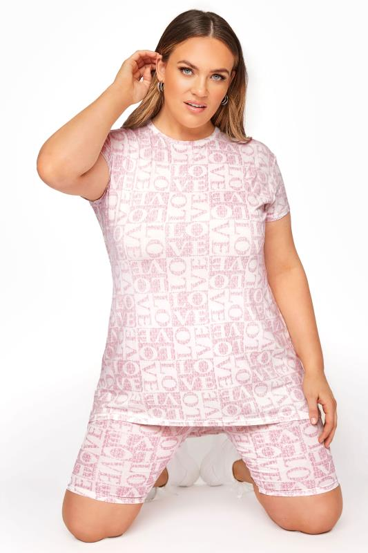 Plus Size  LIMITED COLLECTION Pink 'Love' Printed T-Shirt