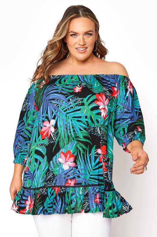 Plus Size  Black Tropical Bardot Top