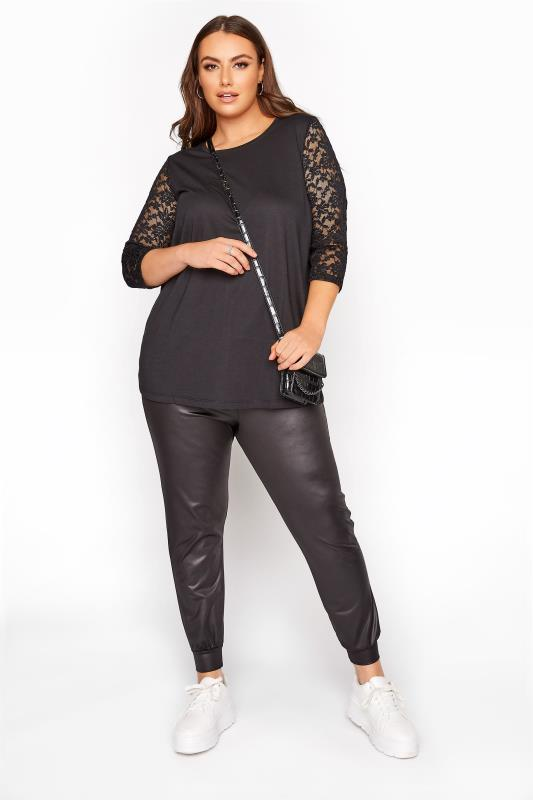 Black 3/4 Length Lace Sleeve Top