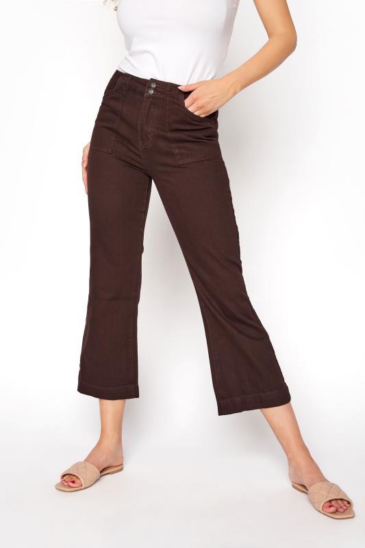 Brown Cotton Twill Kick Flare Cropped Trouser_B.jpg