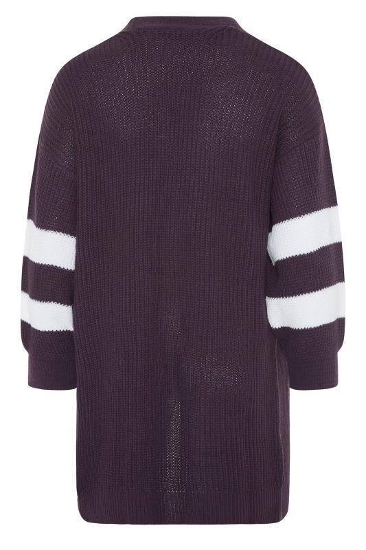 Purple Varsity Stripes Knitted Cardigan_BK.jpg