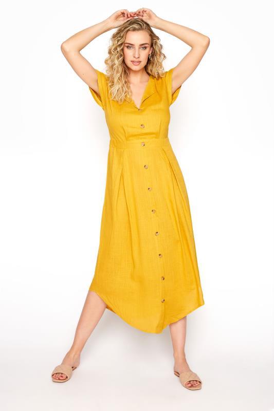 LTS Yellow Linen Blend Button Front Tulip Dress_A.jpg