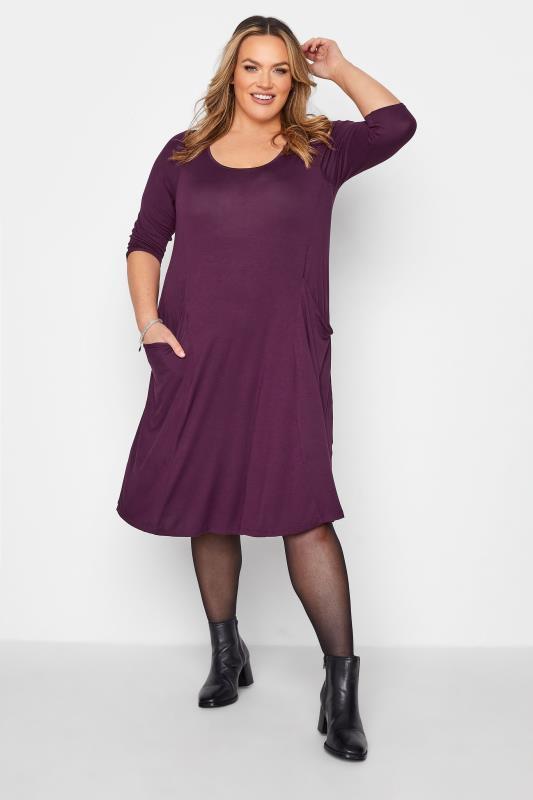 Plus Size  Purple Drape Pocket Midi Dress