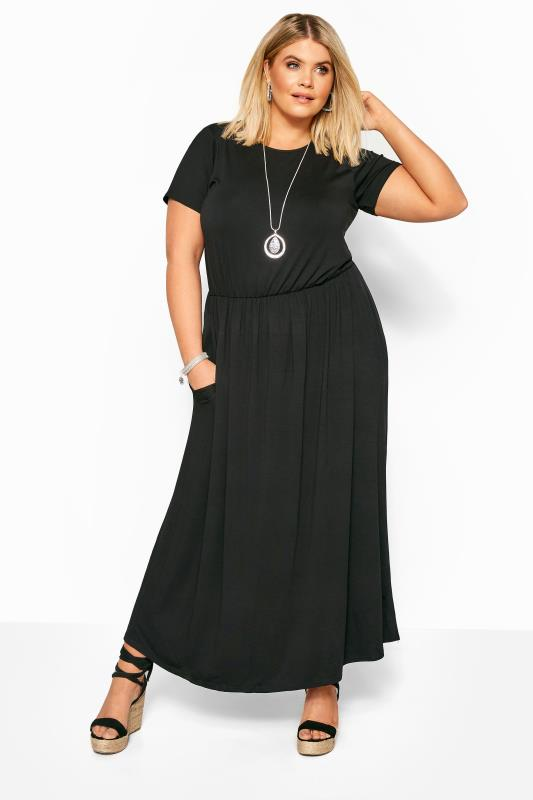 Black Dresses dla puszystych YOURS LONDON Black Pocket Maxi Dress