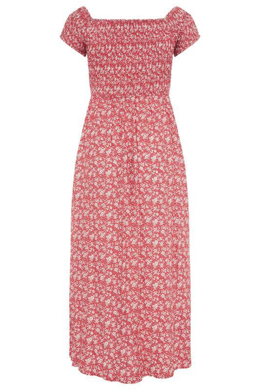 Red Ditsy Floral Shirred Bardot Maxi Dress_BK.jpg