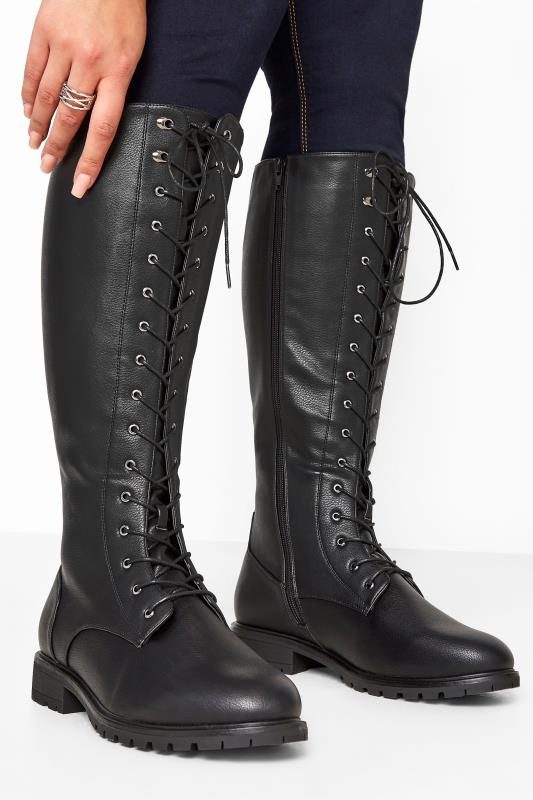 Black Faux Leather Lace Up Knee High Boots In Extra Wide Fit