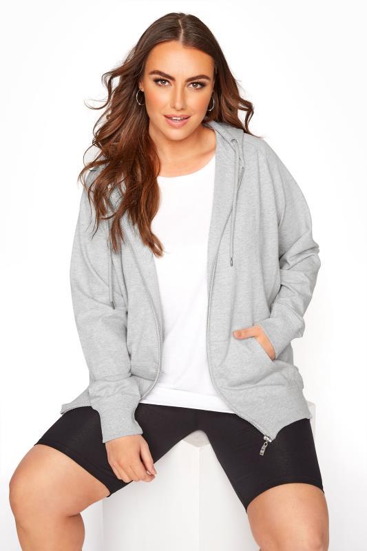 Plus Size  Grey Marl Zip Through Hoodie