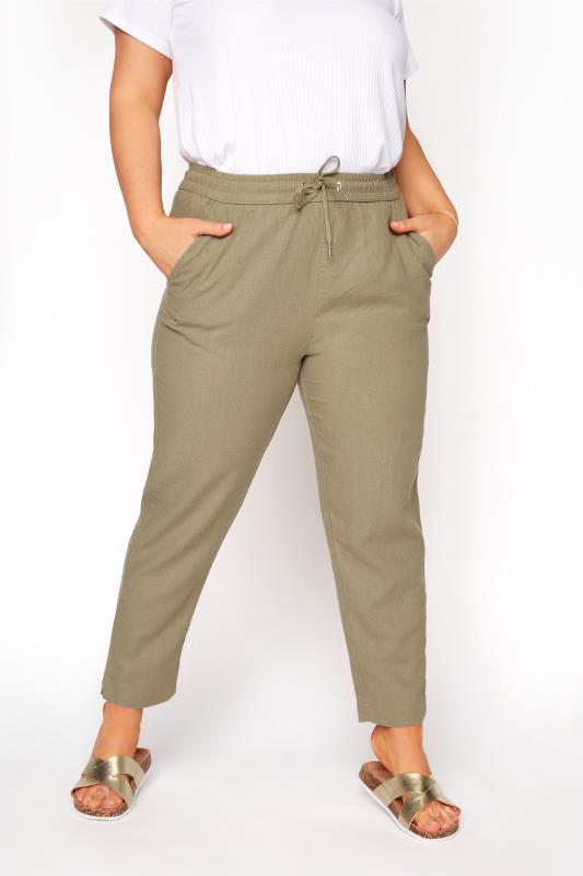 Plus Size  Khaki Linen Joggers