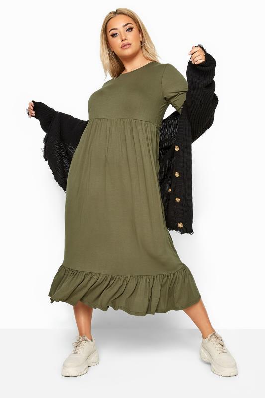 LIMITED COLLECTION Khaki Midi Smock Dress