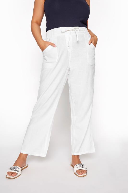 Plus Size Linen Mix Trousers White Linen Mix Wide Leg Trousers