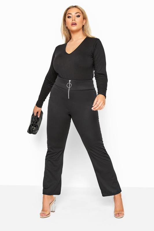 Plus Size Bootcut Trousers Black Circle Zip Flare Trousers