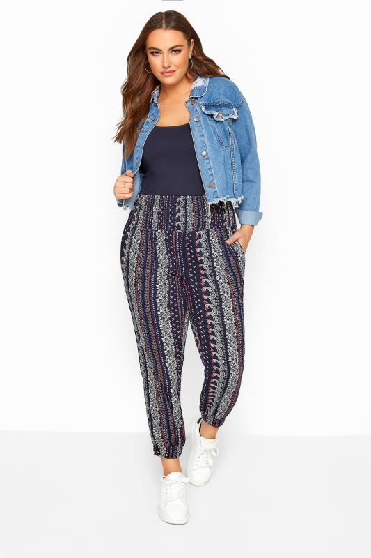 Plus Size Harem Trousers Navy Ditsy Shirred Harem Trousers