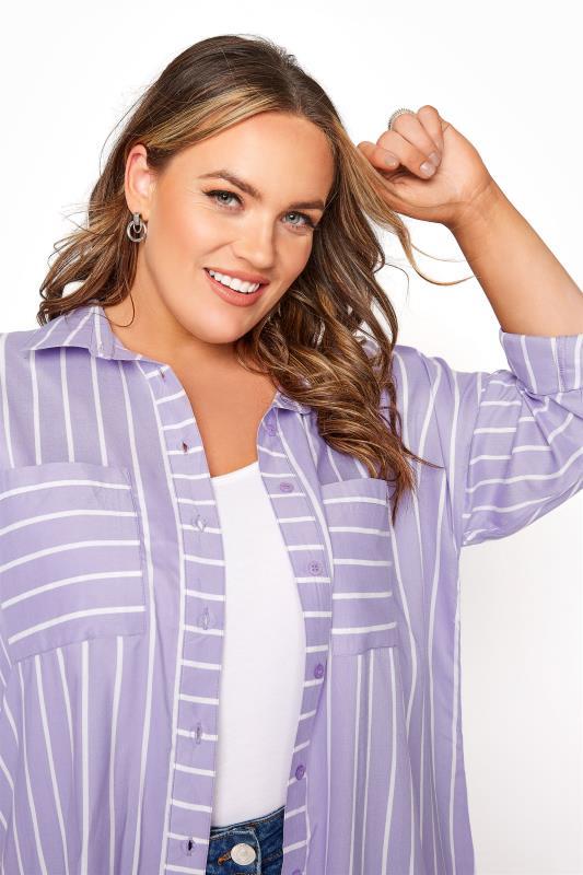 Lilac Striped Oversized Drop Shoulder Shirt_D.jpg