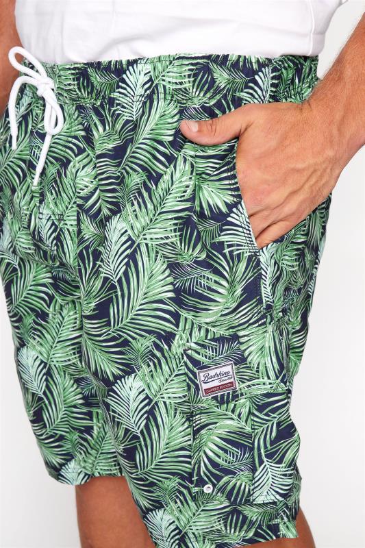 BadRhino Navy Palm Leaf Cargo Swim Shorts_D.jpg