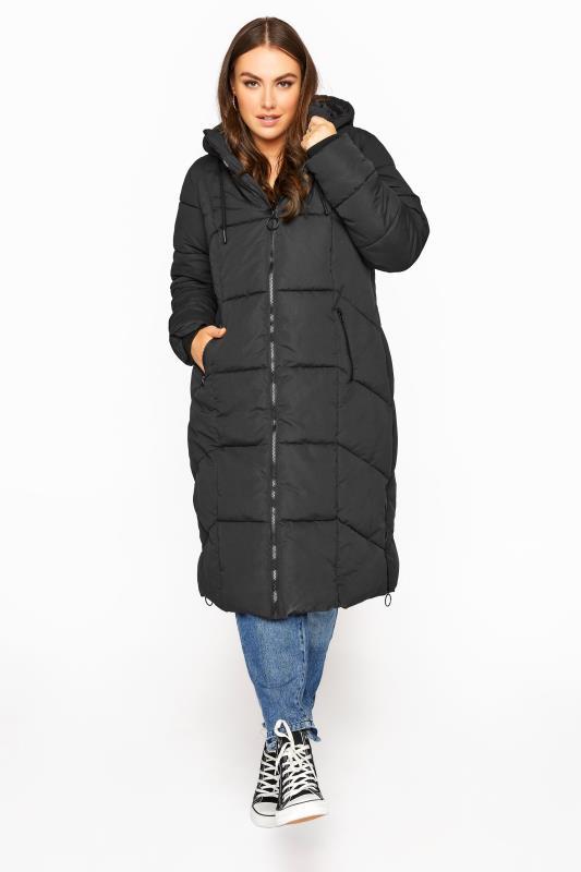 Plus Size  Black Hooded Puffer Maxi Coat
