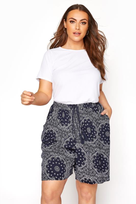 Plus Size  Navy Tile Print Crinkle Shorts