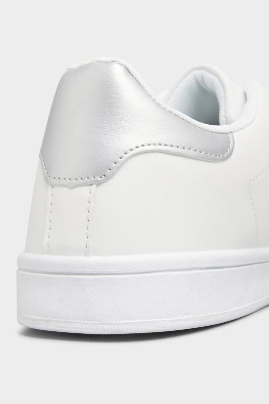 LIMITED COLLECTION White & Silver Vegan Faux Leather Trainers In Wide Fit_D.jpg