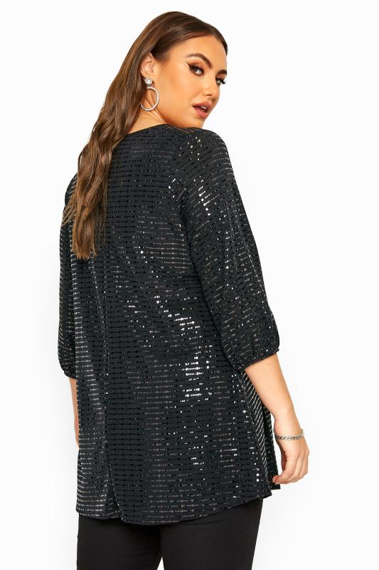 Black Sparkle Embellished Balloon Sleeve Swing Top