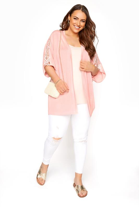Pink Kimono Sleeve Cardigan