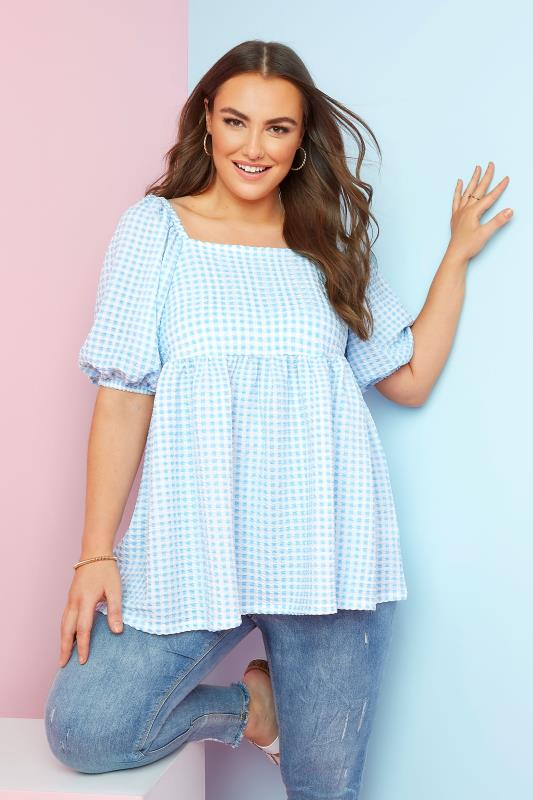 LIMITED COLLECTION Blue Gingham Milkmaid Top