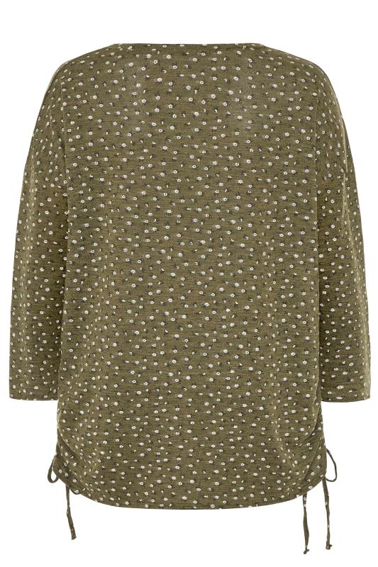 Khaki Ditsy Ruched Knitted Top