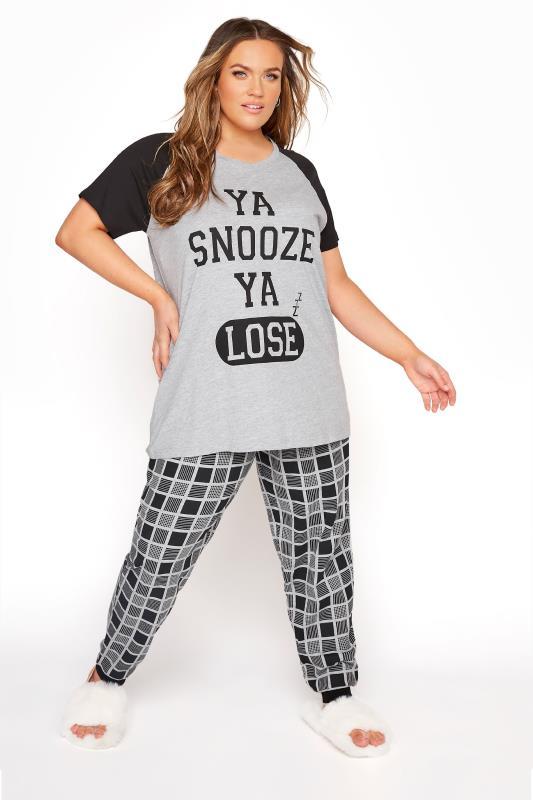 Grey Snooze Lose Varsity Pyjama Set