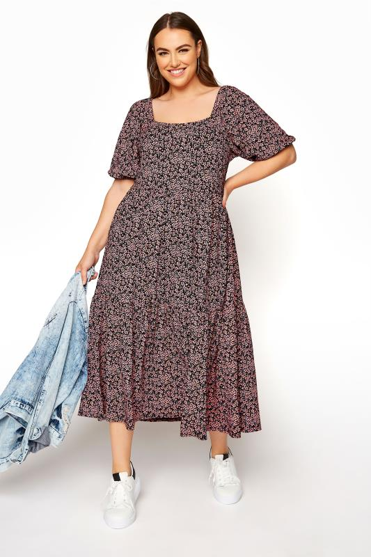 Black Ditsy Floral Square Neck Midaxi Dress