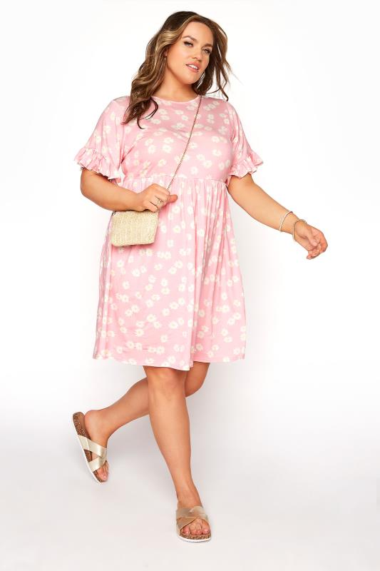 Pink Floral Print Short Frill Sleeve Dress_B.jpg