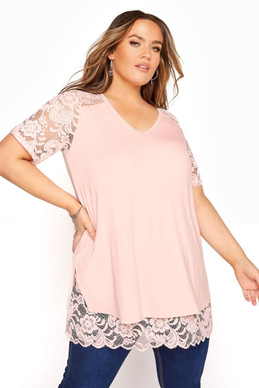 YOURS LONDON Pink Lace Overlay Top
