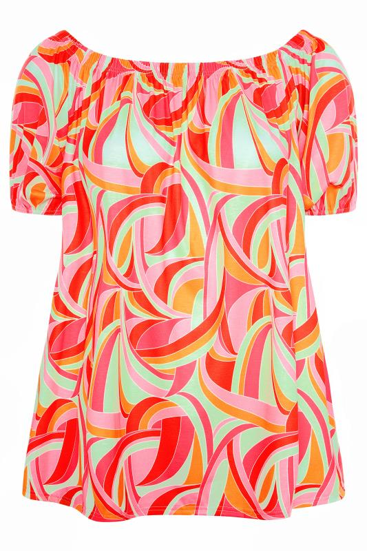 LIMITED COLLECTION Pink Abstract Bardot Top_F.jpg