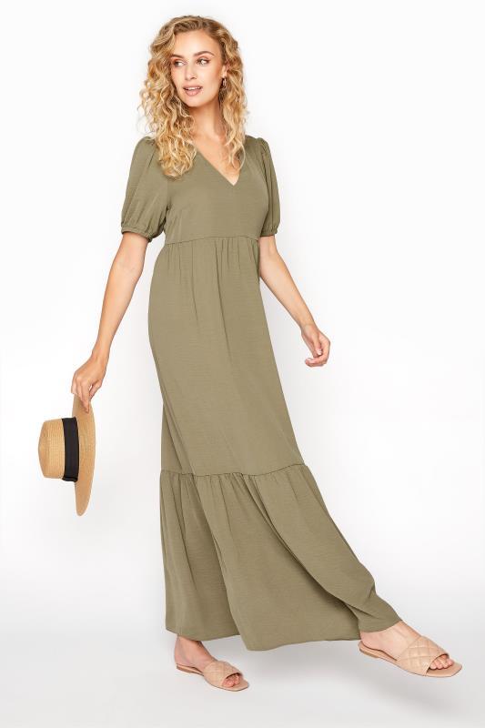 LTS Khaki Twill Tiered Midaxi Dress