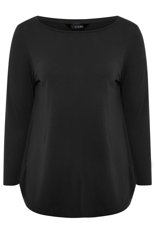 Black Cotton Long Sleeve Top